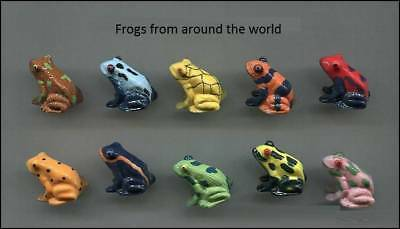 Retired Miniature Porcelain, Frog From Around The World Collection Set *rare*