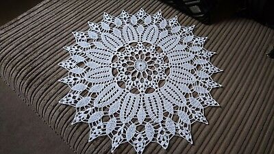 New Hand CROCHET Doily/Placemat/Table centre in white cotton made to order