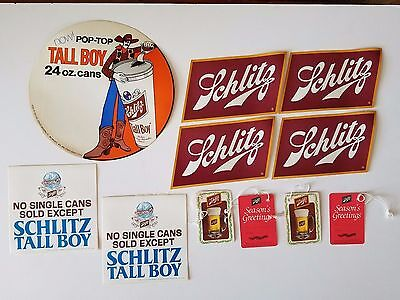 Lot of Schlitz Beer Stickers and Hang Tags