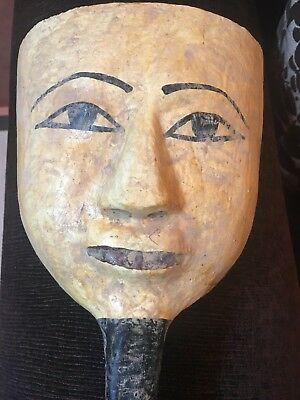 Rare Ancient Egyptian Wooden Mask Of Queen Nefertiti