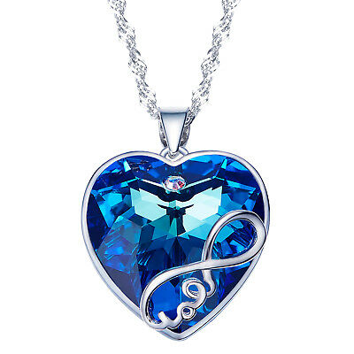 Women's Mom's Pendant Necklace Made with SWAROVSKI Crystal 925 Sterling Silver