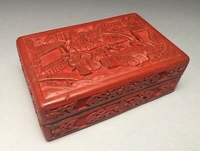 Antique Chinese Cinnabar Over Brass Cigarette Box