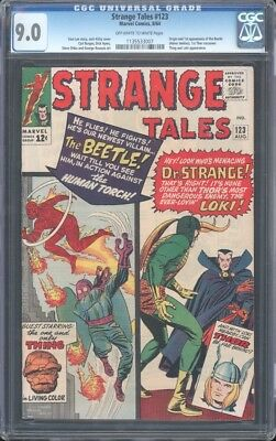Strange Tales (1951) #123 Cgc 9 Vf/nm Oww  1St Thor Cross Over