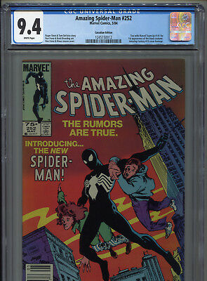 1985 Marvel Amazing Spider-Man #252 1St Black Costume Canadian Variant Cgc 9.4