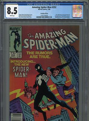 1985 Marvel Amazing Spider-Man #252 1St Black Costume Canadian Variant Cgc 8.5