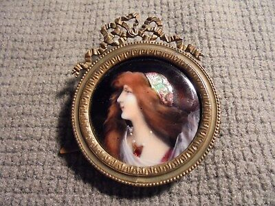 Antique French Miniature Enamel Portrait of Woman Bronze Decorated Frame Signed