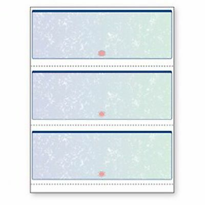 Blank Laser Checks 3 per Page Blue/Green Prismatic ( 500 )
