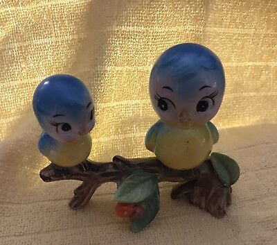 Cute Vintage Anthropomorphic Norcrest Bluebirds On A Branch Figurine
