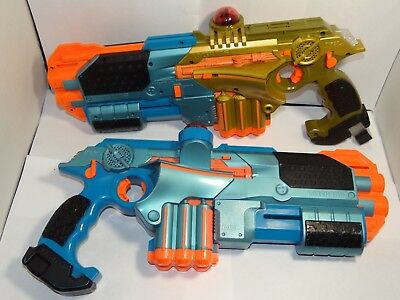 2 Tiger Nerf Lazer Tag Guns LTX Phoenix Blue & Gold Laser with 2 BLUE Shotgun