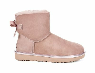UGG Mini Bailey Bow 2 Metallic Disk Damen Winter Boots Schuhe Stiefel Rosa 36-42