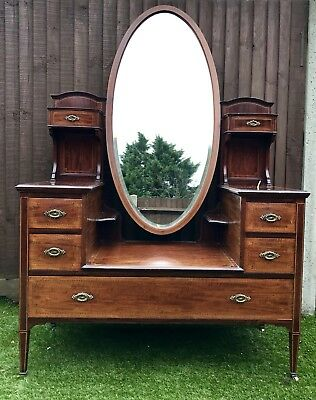 Early 20th Century Mahogany Dressing Table With Central Oval Mirror And Drawers