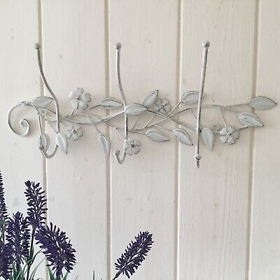 French Vintage style Cream Metal Coat Hooks, Wall Hooks,Shabby Chic Hall Storage