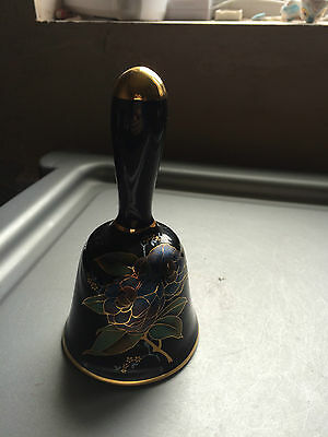 Prinknash Pottery Black and Gold Flower decorated Bell with clanger