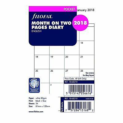 Filofax 2018 Pocket Month on Two Pages Refill, Monthly, Jan 2018- Dec 2018, 4.75