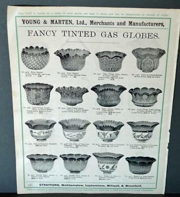 Vintage Architectural Advert ' Young and Marten Stratford 'Fancy Gas Globes Etc.