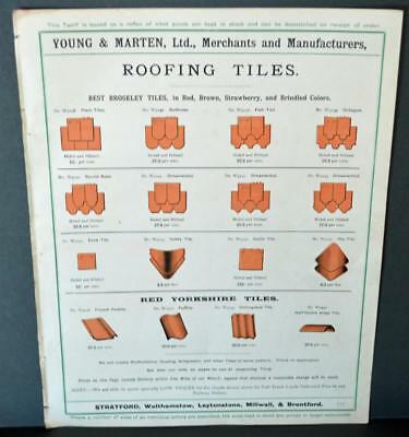 Vintage Architectural Advert ' Young and Marten Stratford 'Roofing Tiles .