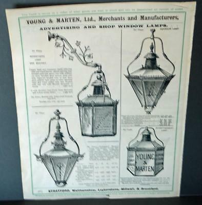 Vintage Architectural Advert' Young and Marten Stratford 'Advertising Shop Lamps