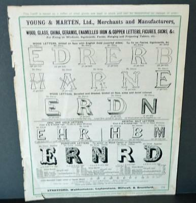 Vintage Architectural Advert ' Young and Marten Stratford 'Sign Letters.