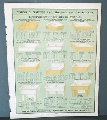 Vintage Architectural Advert ' Young and Marten Stratford 'Earthenware Sinks.