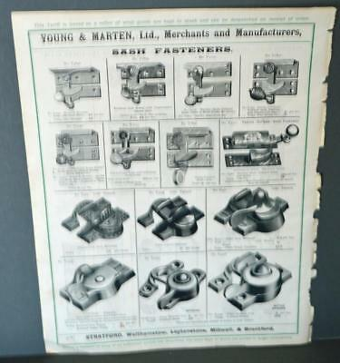 Vintage Architectural Advert ' Young and Marten Stratford 'Sash Fasteners Plates