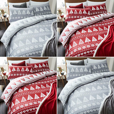 Catherine Lansfield Home Nordic Trees Reversible Duvet Cover Red or Grey SALE!!