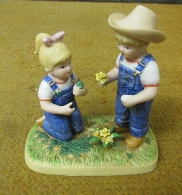 Vintage Denim Days #15001-06 Shamrock and Daffodils Figurine