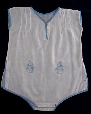 Vintage Boys One Piece Outfit White with Blue Trim & Embroidered Bunnies 12