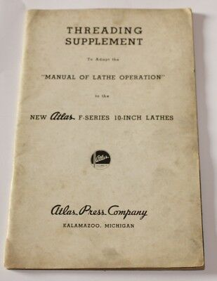 """Threading Supplement Manual of Lathe Operation Atlas F-Series 10"""" Lathes"""