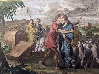 1712 Joh. LUYKEN - Jacob Arrives in Paddan Aram - Handcolored copper engraving