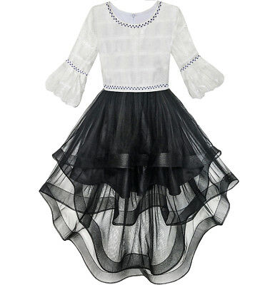 Girls Dress White and Black Hi-lo Party Dancing Pageant Size 6-14 US Seller