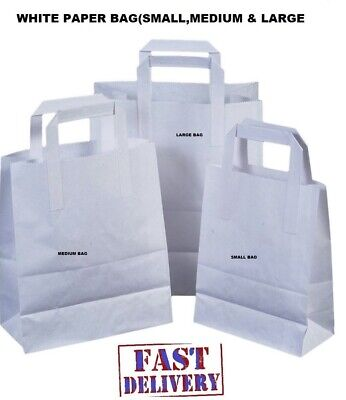 Kraft Craft Paper SOS Carrier Bags white with Flat Handles /Takeaway/ restaurant