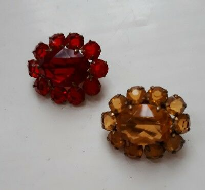 A pair of antique paste little lace pin brooches - old Edwardian/Victorian