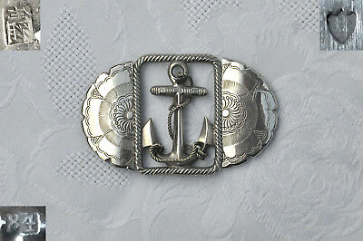 Japanese Silver Fouled Anchor Nautical Belt Buckle