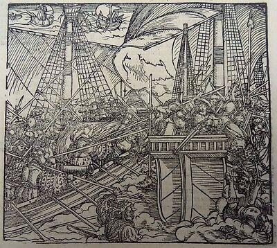 1544 Master of Petrach - Hans Weiditz 1495-1537 - Sea Battle original woodcut