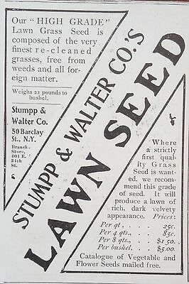 Antique 1903 Ad(F16)~Stumpp & Walter Co. Barclay St. Ny. Lawn Seed