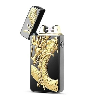 3D Dragon USB Electric Dual Arc Flameless Torch Rechargeable Windproof Lighter