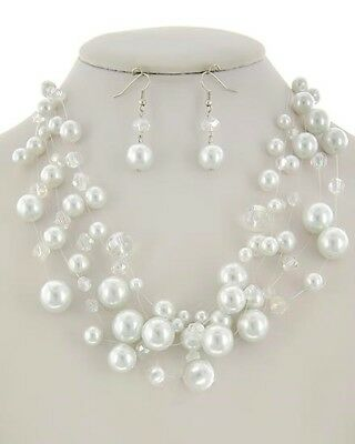 White Synthetic Pearl Clear Ab Glass Crystal Necklace & Earring Set