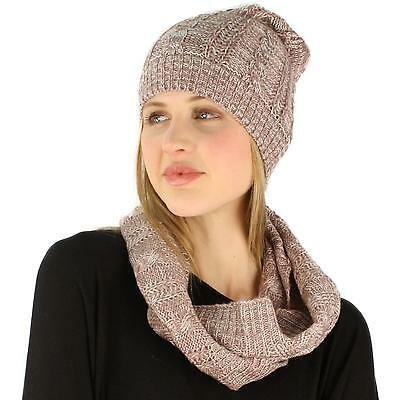 Ladies 2pc Winter Marled Cable Knit Beanie Hat Cowl Infinity Scarf Ski Set Pink