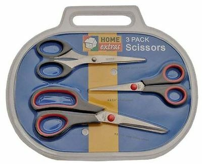 3pc SET HOUSEHOLD SCISSORS School Cutting Sewing Arts & Crafts Shears Kitchen