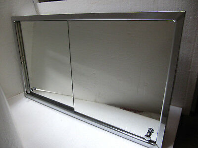VTG 50s/60s Recessed Dura Steel Chrome Sliding Mirror Metal Medicine Cabinet
