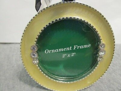 Lot of 3 Round Ornament Photo Frame~Yellow Enamel in Gold Tone Frame Stand/Hang
