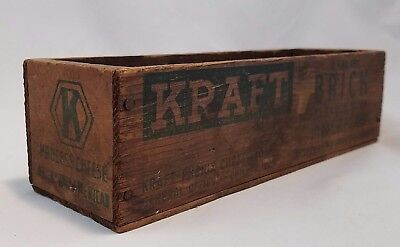 Antique Kraft Brick Blended American Pasteurized Process Cheese Wood Box 2 lb