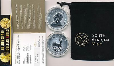 2017 50Th Anniversary Silver Krugerrand 1 Oz. Only 1 Million Made. Cert/mint Bag