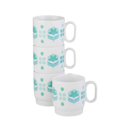 4pc Anna Gare 350ml Daisy Stackable Porcelain Mug Set for Coffee/Tea/Drink/Cup