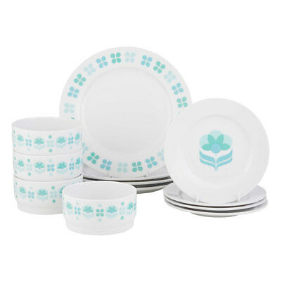 12pc Anna Gare Daisy Porcelain Dinner Plate Set w/Stackable Bowl/Side Plate