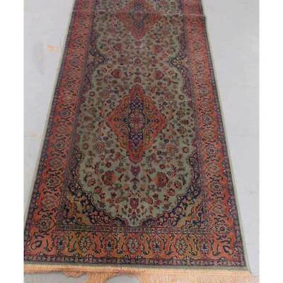 New FLOOR RUG Chiraz Persian Art Silk Rugs GREEN Tones Mat 68x230cm 9099-16 Thin