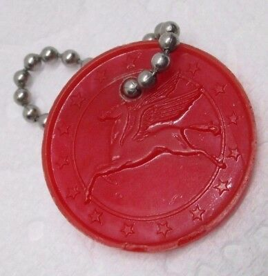 Vintage Mobil Oil Gas Advertising Promo Key Chain Red Pegasus Horse