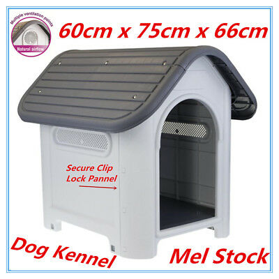Small Medium Strong Solid Hard Plastic Pet Dog House Kennel Weather Resistant LP