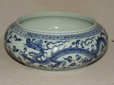 Rare Chinese B&W Porcelain Brush Washers with dragon