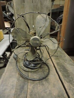 Antique Westinghouse 4 Steel Blade Fan, Wire Cage, Model 457678 A, Parts, (VE)